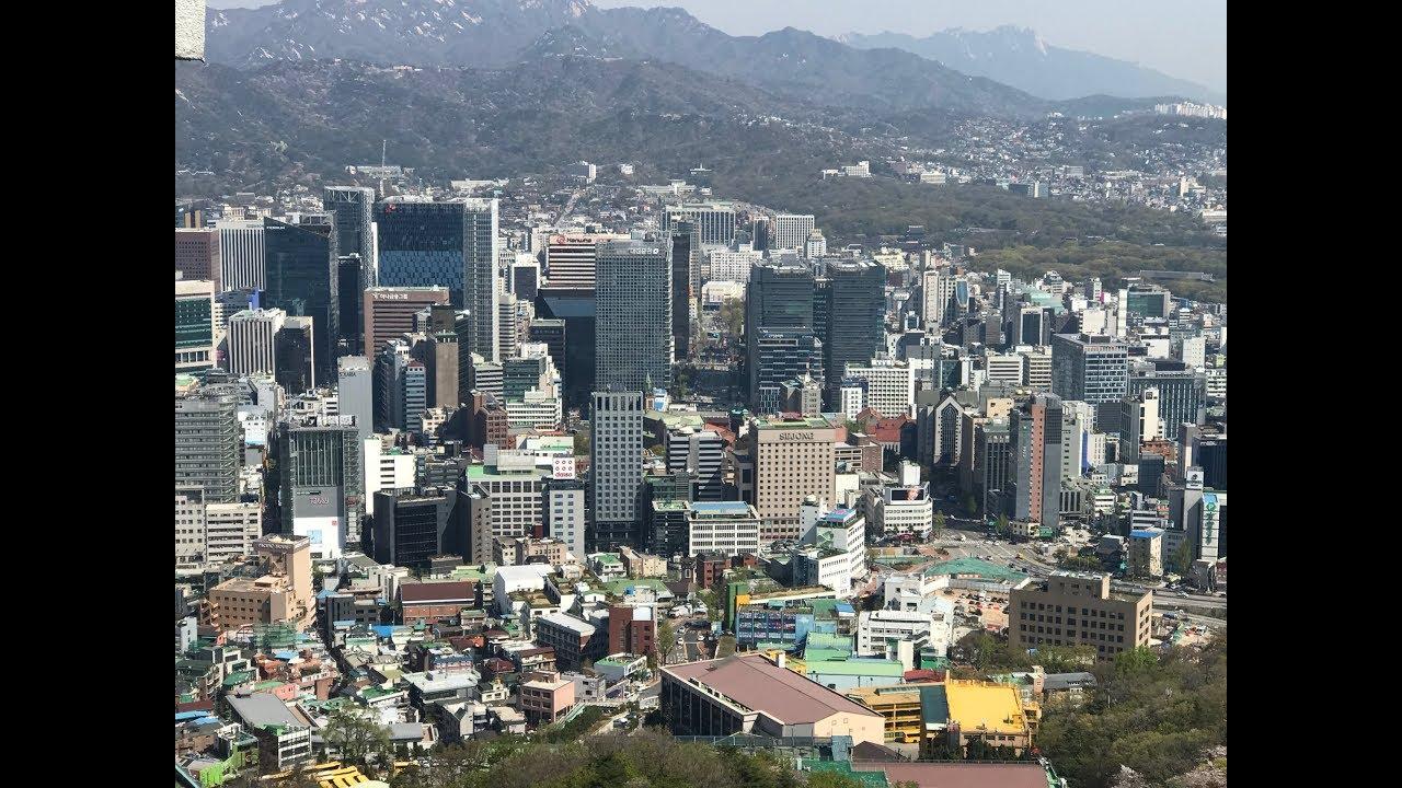 Kho Tư liệu Xây dựng – Toàn cảnh nhà cao tầng ở thủ đô Seoul của Hàn Quốc quay từ trên cao