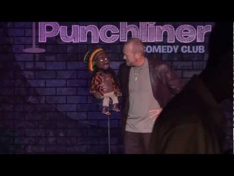 Clean Comedy ventriloqist Marc Rubben with the RastaMon