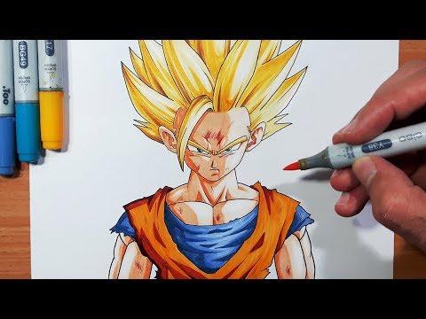 How To Draw Gohan Super Saiyan 2 - Step By Step Tutorial!