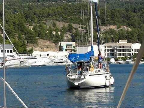 www.charterayacht.gr sailboat Thetis entering Porto Carras Marina Harbor Part 1.AVI