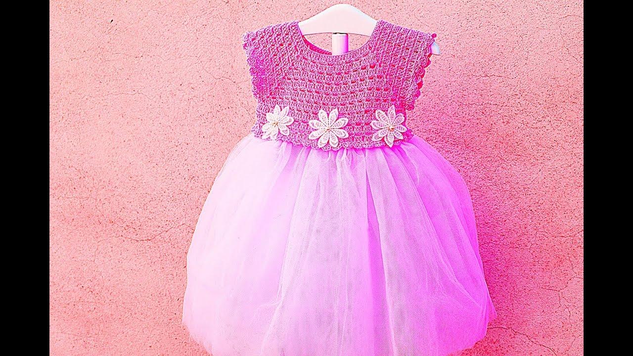 Vestido De Tul Para Niñas A Crochet Majovel Muy Fácil Y Rápido Crochet Ganchillo