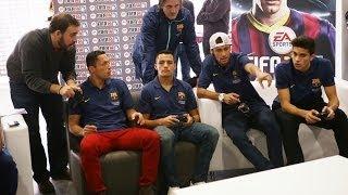 Jugadores del Barcelona jugando FIFA 14 ¿quien ganó?