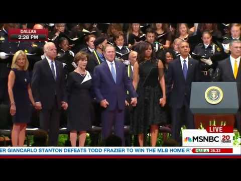President Obama and Bush family unite around fallen Dallas officers
