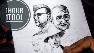 Drawing Indian Freedom Fighters Challenge Only 1hour 1 Tool Independence Day Special Drawing Youtube