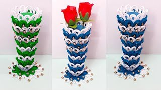 DIY flower vase with paper at home |paper Flower vase making idea...