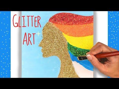 Acrylic Painting - Cool Glitter Art Tutorial