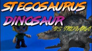 Stegosaurus Dinosaur Indiana Jones encuentra un dinosaurio Y LO MONTA