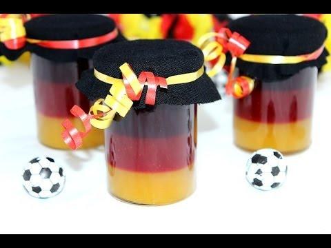 Fußball WM schwarz-rot-goldene Marmelade | WM-Marmelade (Pfirsich, Erdbeere, Brombeere)