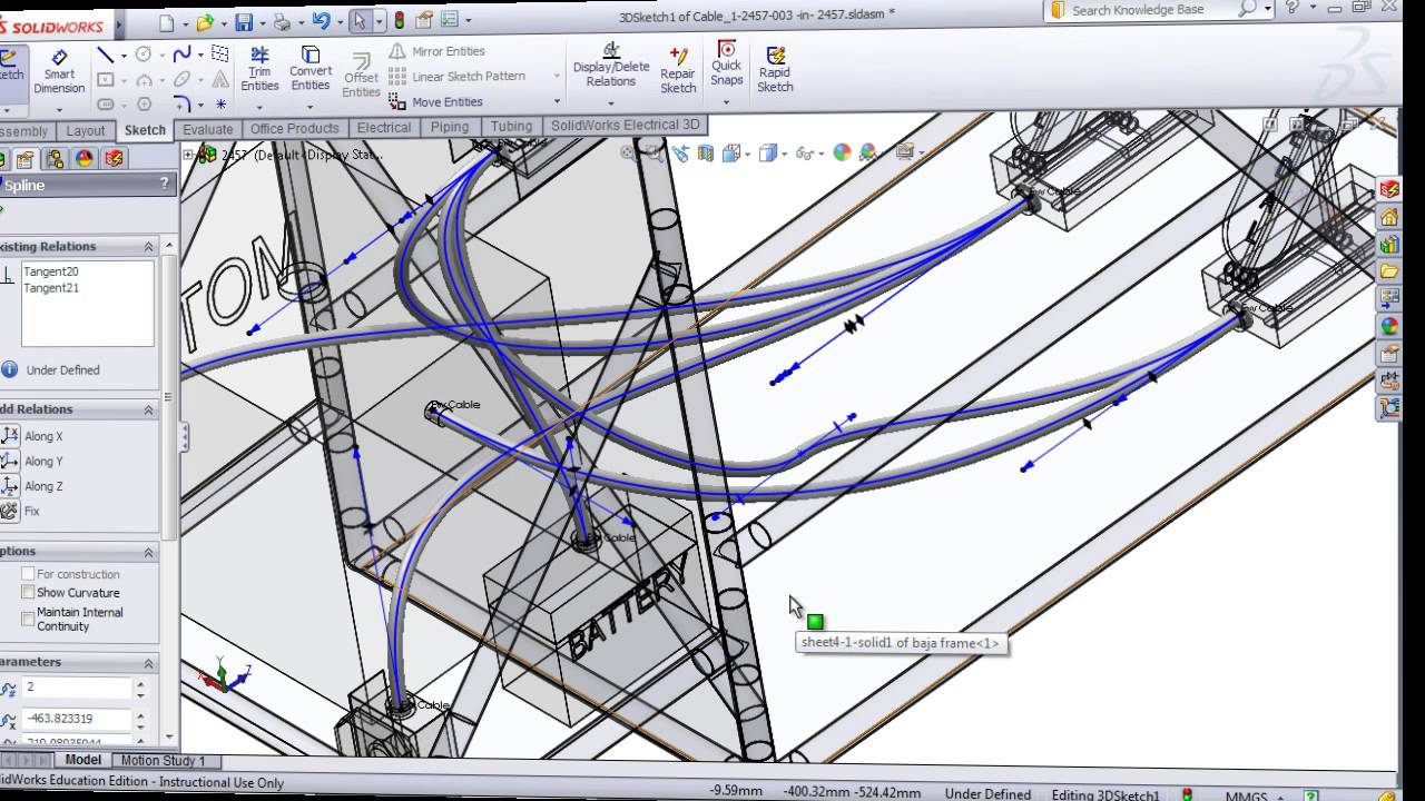 maxresdefault routing cables and wires in solidworks electrical 3d youtube solidworks wiring harness at bakdesigns.co