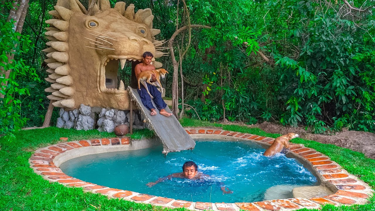 Dog Rescued Fun With Building Water Slide From Lion Mud House To Swimming Pool