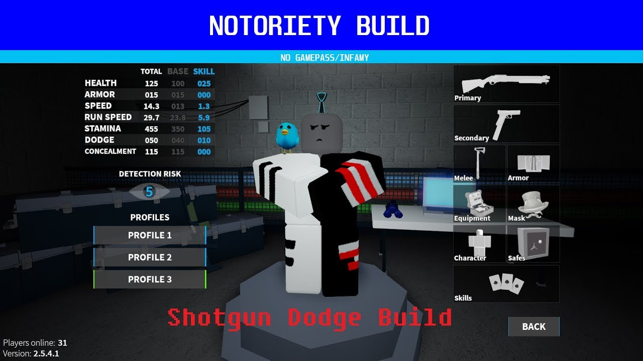 Notoriety Build Shotgun Dodge Build Free No Infamy Youtube