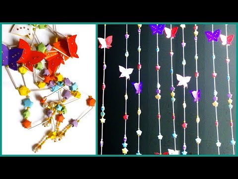 How To Make Paper Star Beaded Door Curtain Out Of Cotton Buds - DIY Recycling Door Curtain Tutorial