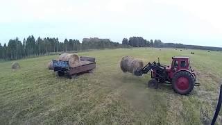 Трактор т 40 погрузка последних рулонов в этом году.