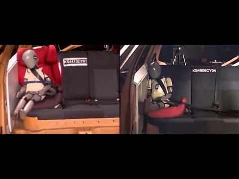 Краштест кресла Cybex Q2 Fix в сравнении с бустером.