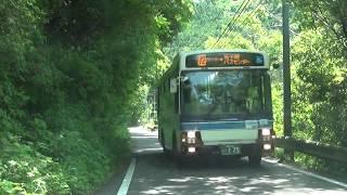 アッ!狭隘路線でバスが来た!高千穂鉄道線跡に沿って走る旧道経由バスとの離合