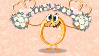 Обручальное колечко! Анимационное видео поздравление со свадьбой  Видео открытка