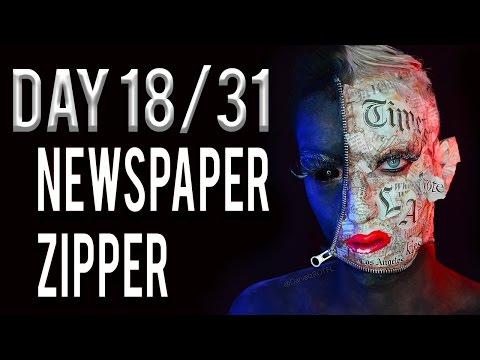 Day 18 - Newspaper Zipper Makeup Tutorial