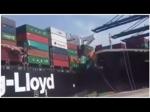 VIDEO. Pakistan : deux porte-conteneurs se percutent dans le port de Karachi, des dizaines de con...
