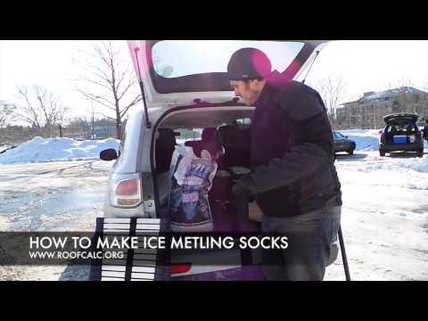 HOW TO MAKE ICE METLING SOCKS TO PREVENT ICE DAMS