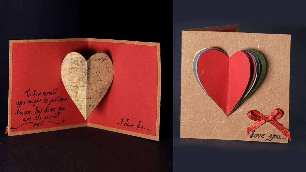 Happy Valentines Day Card Pop Up Heart Card Tutorial with Love – Valentine Card Love Messages