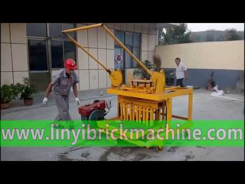 QM4-45 diesel oil engine movable concrete hollow block machine in Ghana, Tanzania, India