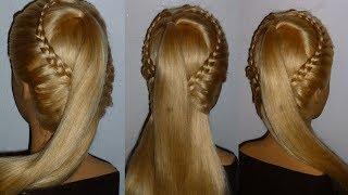 Уроки плетения кос с нуля. Причёска для средних/длинных волос. Простые причёски для девочек в школу