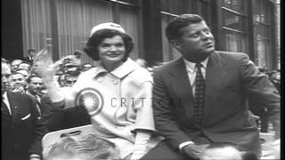 President-elect John Kennedy after winning 1960 Presidential election, and at Ken...HD Stock Footage
