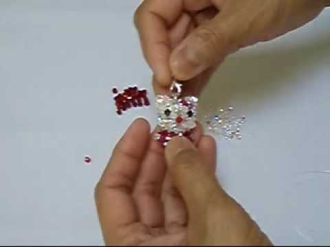 Hello Kitty Swarovski crystal bead weaving