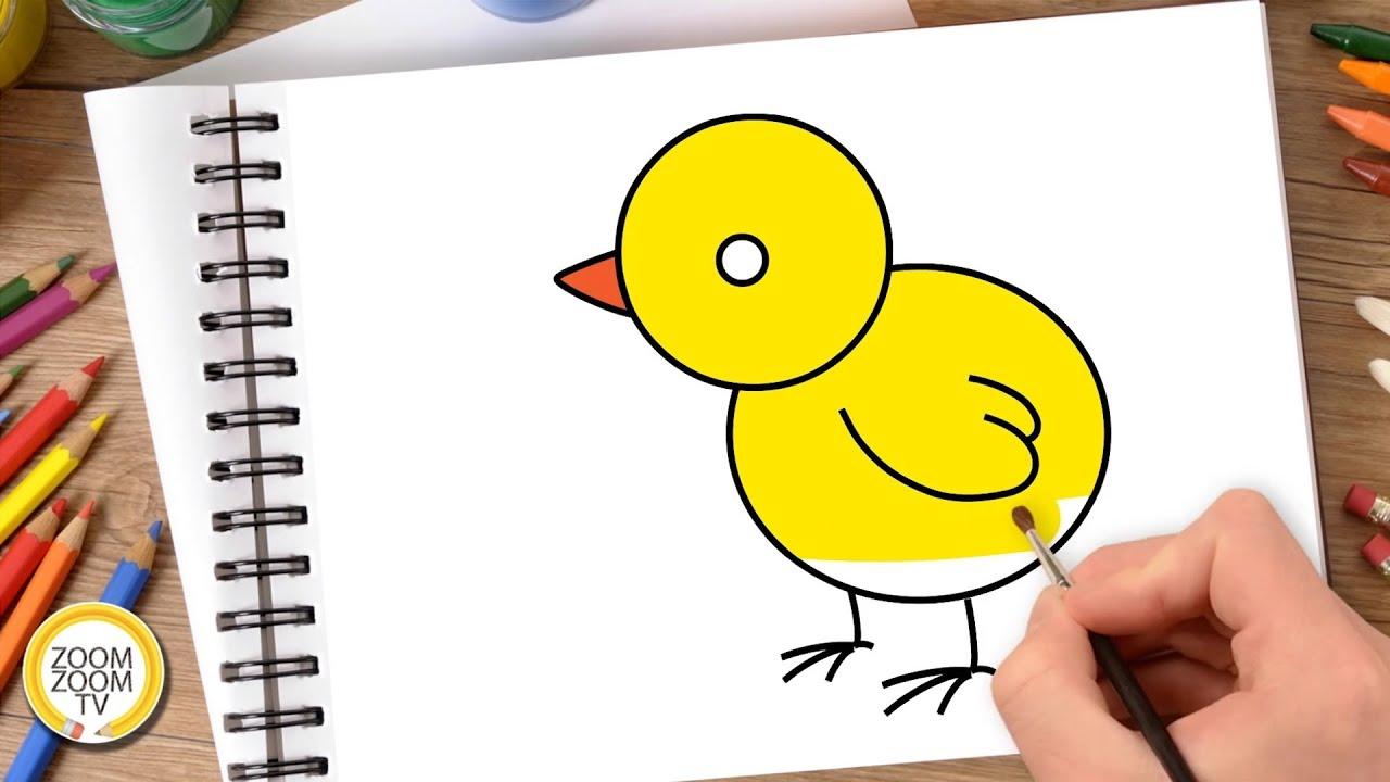 Hướng dẫn cách vẽ CON GÀ – Tô màu con Gà – How to draw a Chicken
