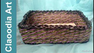 Repeat youtube video Jak zrobić prostokątny koszyk z papierowej wikliny? (basket, paper wicker)