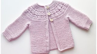 Easy Knit And Crochet Baby Cardigan Sweater For Girls, How To Knit