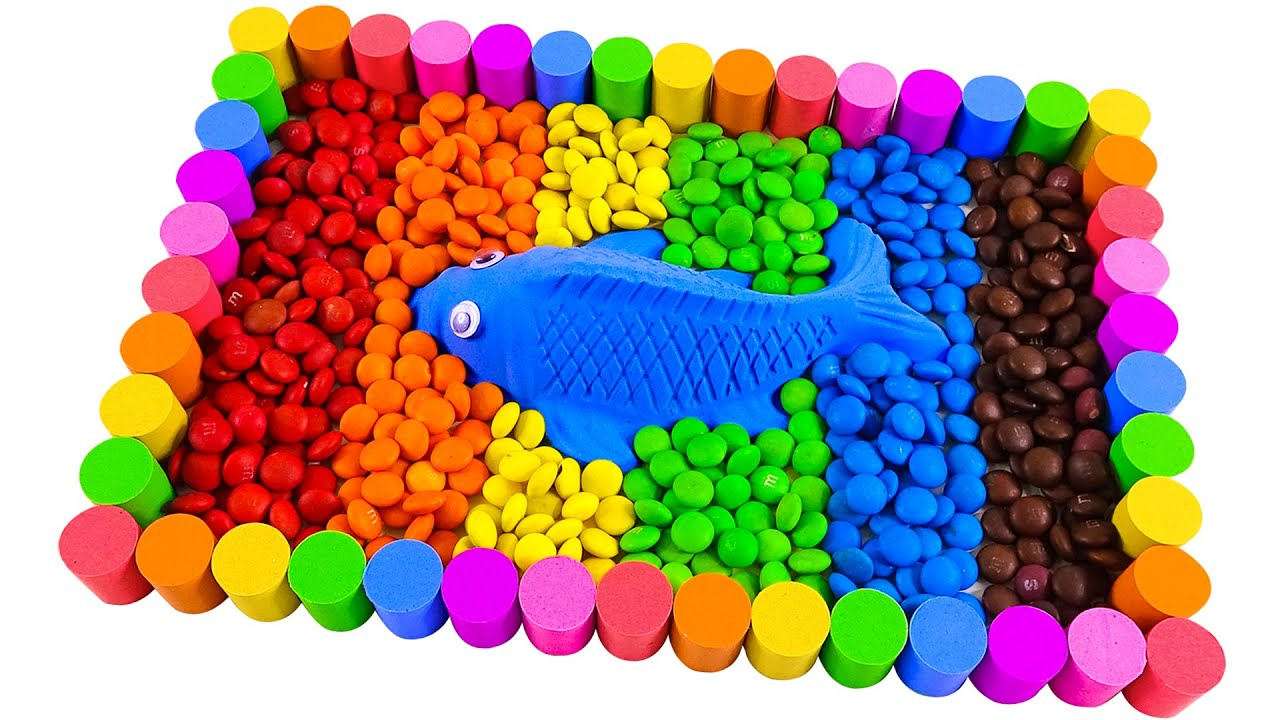 Satisfying Video | How To Make Rainbow Pool Fish Candy with Kinetic Sand Cutting ASMR | Bot Bot ASMR
