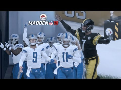 Madden 18 Steelers vs Lions Gameplay Full 1st Half (Snow Game)