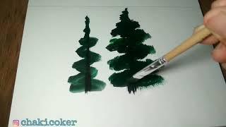 Pertama kalinya melukis Pohon Cemara
