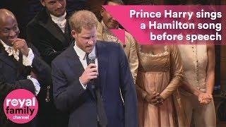 Prince Harry sings a Hamilton song before speech