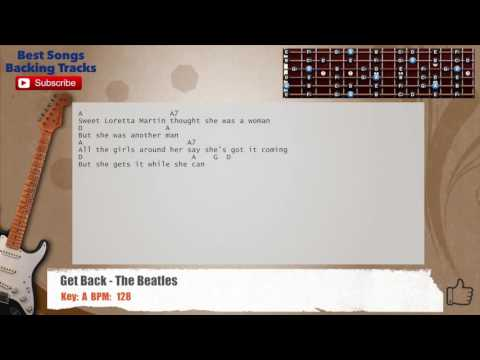 Get Back - The Beatles Guitar Backing Track with chords and lyrics