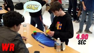Rubik's Cube World Record 4.90 sec Lucas Etter Slow Motion