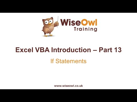 Excel VBA Introduction Part 13 - If Statements