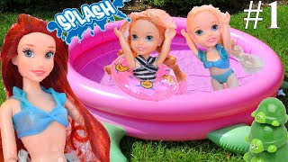 Anna and Elsa Toddlers take Swimming Lessons Turtle Pool Mermaids Ariel # 1  TV Toys In Action