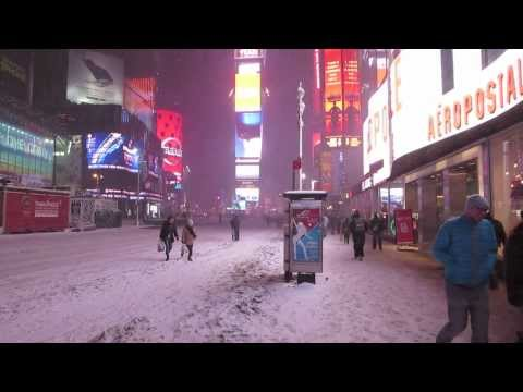 Winter Snow Storm Hercules in Times Square, NYC January 3rd 2014