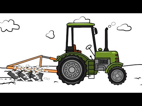 #Tractors Drawing - Plowing Field | Animation for kids | Zielony Traktor rysunek i kolorowanka