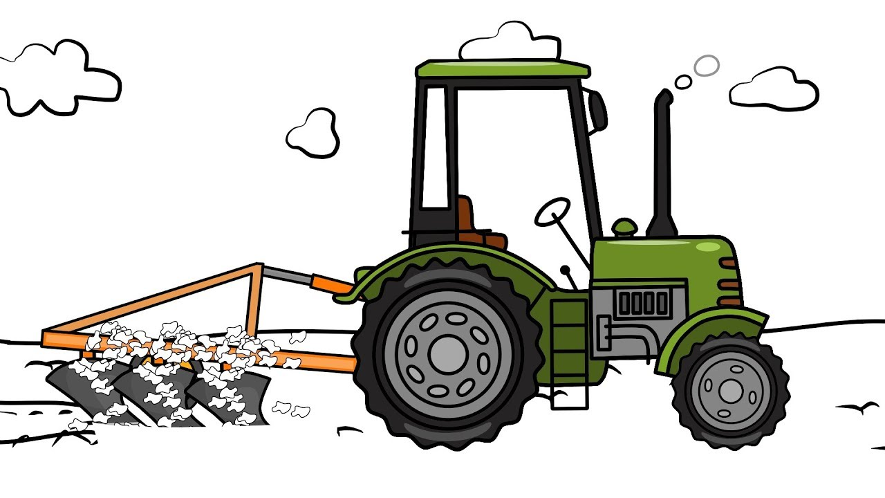 The Tractors Drawing Plowing Field Animation For Kids Zielony