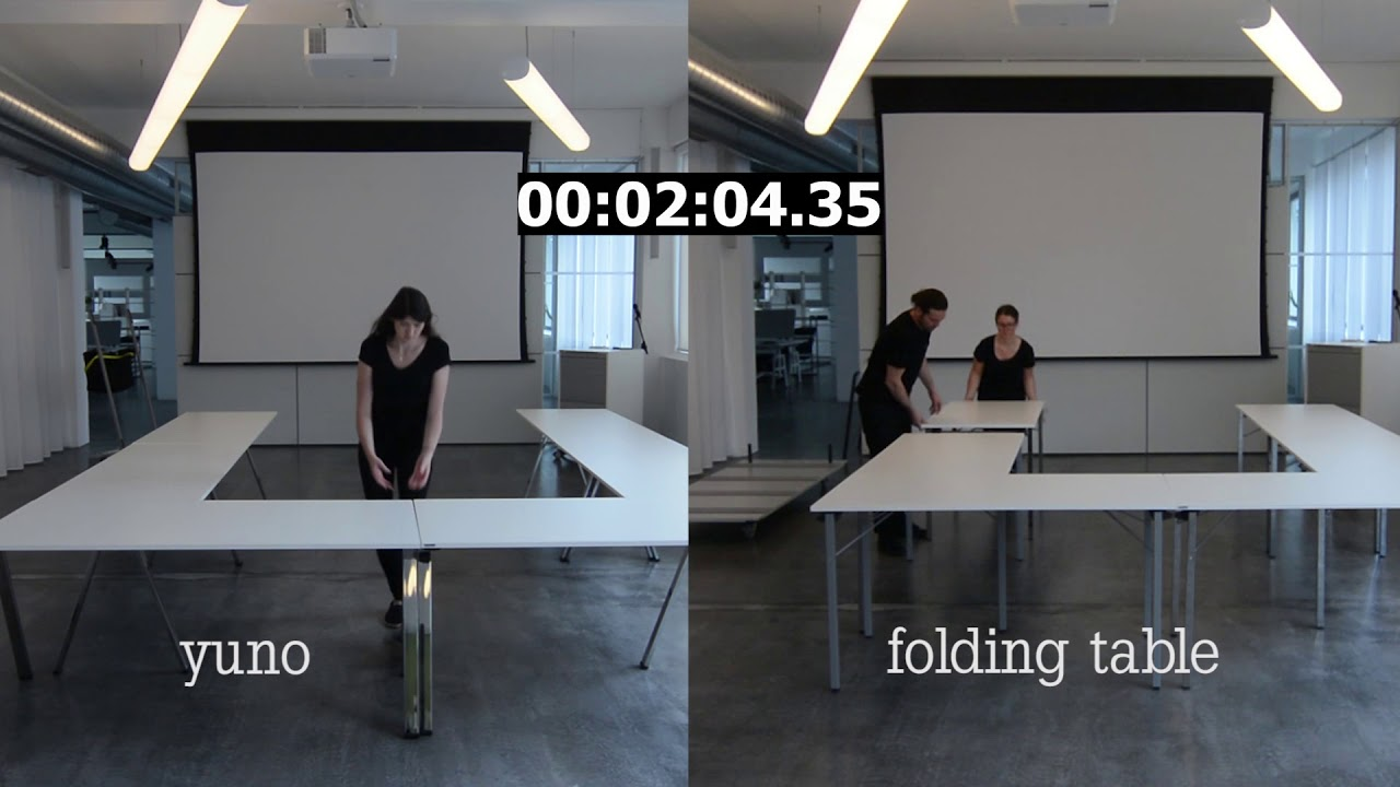 The meeting room challenge: yuno stacking table vs. folding table