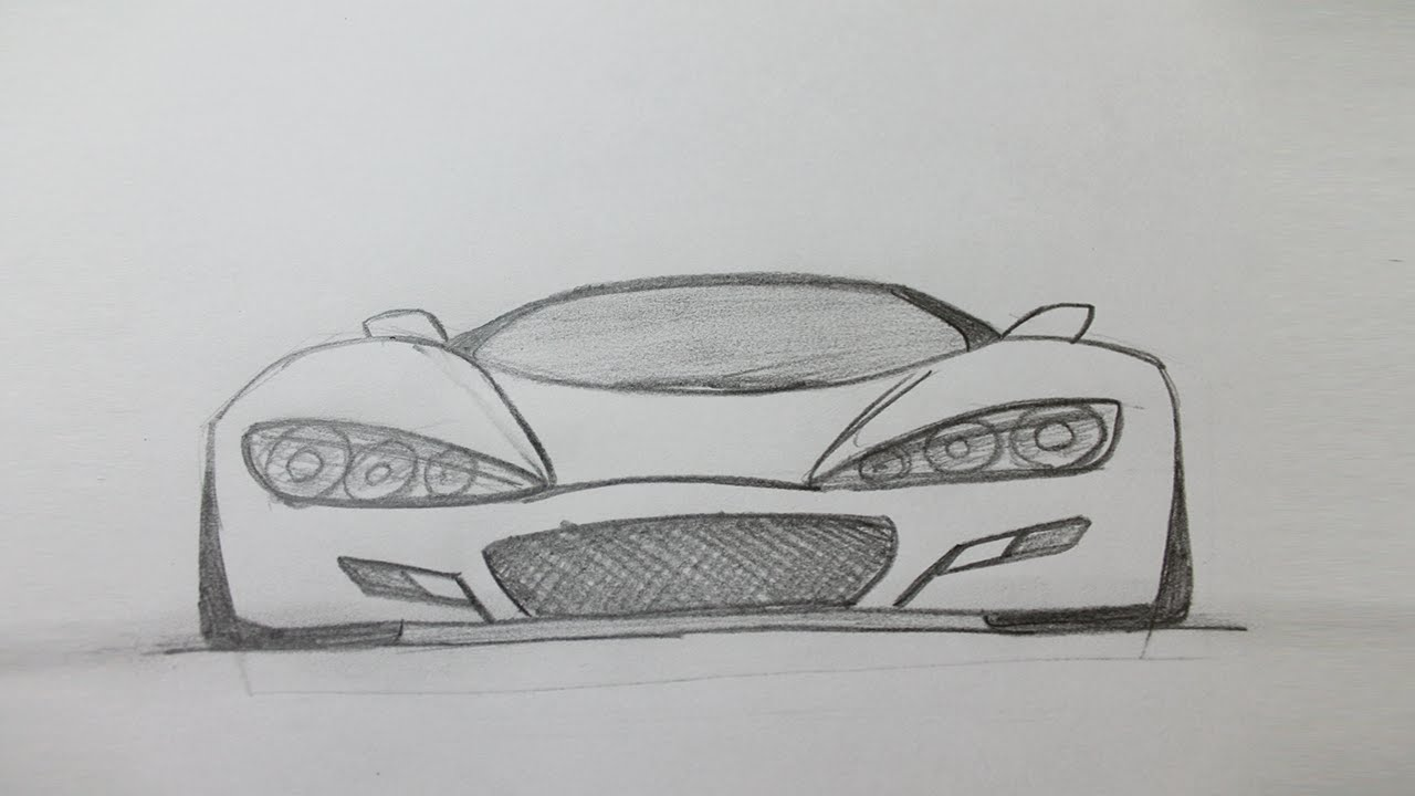 How To Draw A Sports Car Easy Youtube