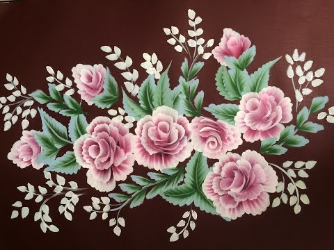 "Acrylic Painting- One Stroke Technique Rose Composition on 70""*50"""