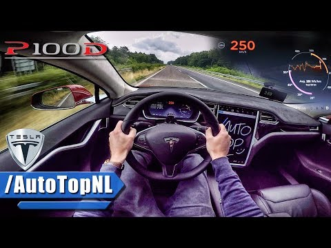 Tesla Model S P100D LUDICROUS AUTOBAHN POV TOP SPEED & ACCELERATION by AutoTopNL