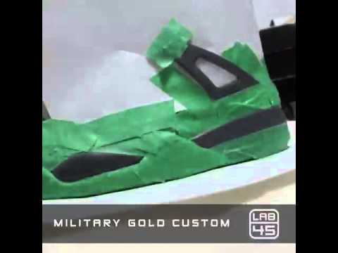 c7fb31834f0b4e Jordan 4 - MILITARY BLUE - Retro 2006 - Military Gold Custom - YouTube