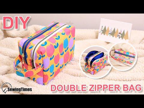 DIY DOUBLE ZIPPER POUCH BAG | TWO Zipper Box Pouch Tutorial [sewingtimes]