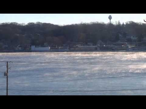 Cold morning in Le Claire Iowa on the Mississippi