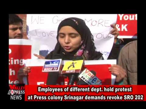 Employees of different dept  hold protest at Press colony Srinagar demands revoke SRO 202